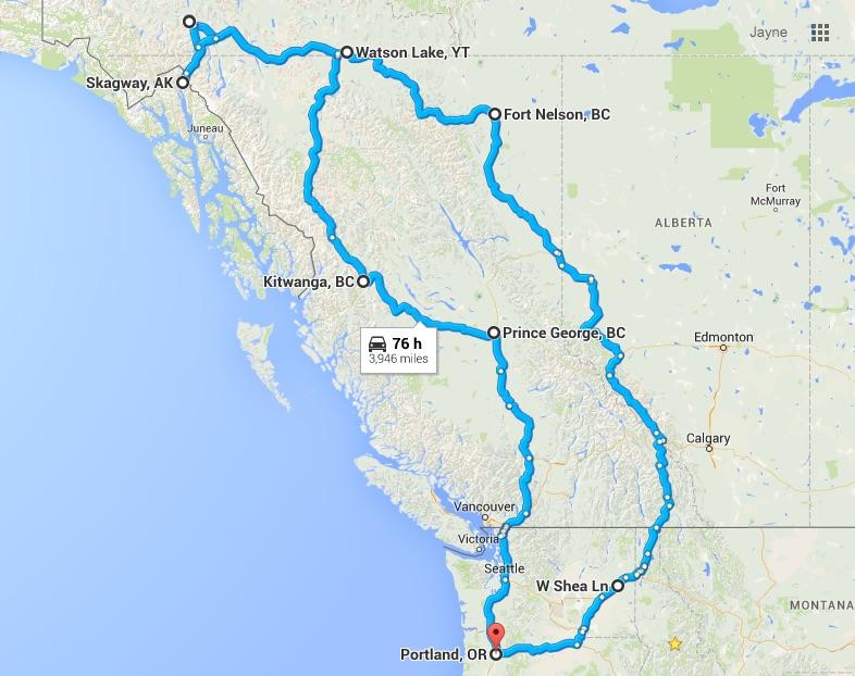 Map Of Alaska And Washington State.Forest Grove Oregon To Skagway Alaska And Back